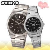 CASIO手錶專賣店 SEIKO精工_SNE039P1+SUT161P1_不銹鋼錶殼/錶帶_日期_石英對錶