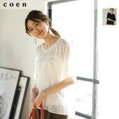 蕾絲細褶罩衫 後蝴蝶結免運費 日本品牌【coen】
