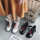 日系復古娃娃鞋女新款淺口平底綁帶小皮鞋百搭軟妹單鞋潮  極有家