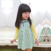 小碎花洋裝 女童 蕾絲滾邊 拼接袖 連身裙 連衣裙 洋裙 Augelute 53005