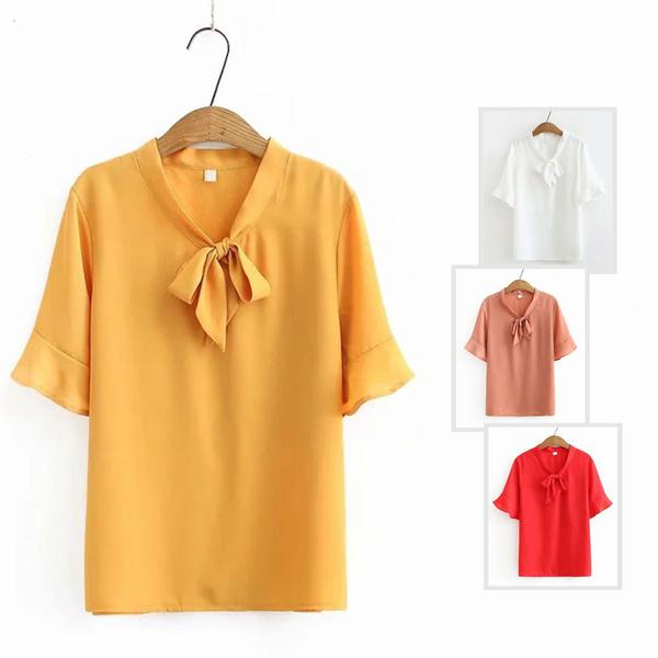 *ORead*韓版小清新甜美學院風純色雪紡衫(4色XL~4XL)