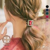 髮飾 韓國直送水鑽方型髮圈-Ruby s 露比午茶