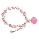 粉紅貓眼蘋果與貓眼水晶珠手鍊