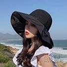 黑膠防曬遮陽帽子女夏季大帽檐遮臉防紫外線...