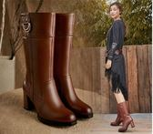 2018秋冬新款全牛皮粗跟英倫風高跟中筒靴女鞋真皮中長靴女靴子