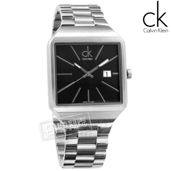 CK / K3L31161 / Gentle 爵士風尚方形日期瑞士機芯不鏽鋼手錶 黑x銀 37mm