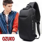 特賣防盜後背包外貿OZUKO胸包男USB充電斜背斜背包女休閒后背包防盜9.