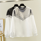 XL-4XL大碼寬版上衣T恤2416大碼胖mm200斤季時尚洋氣遮肉襯衫拼接長袖T恤F5026韓衣裳