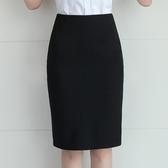 2020新款黑色半身裙女春秋中長款開叉一步裙職業包臀大尺碼裙子高腰‧衣雅