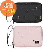 【韓版】時尚清新大容量可手挽證件護照收納包-二入組(黑+粉)