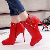 高跟鞋女細跟歐洲站女靴子秋季新款小跟短靴韓版百搭瘦瘦靴潮 AB6529 【123休閒館】