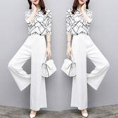 【GZ33】兩件式套裝 V領雪紡上衣+高腰寬褲套裝 修身氣質百搭休閒套裝