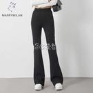 闊腿褲女垂感加長西裝褲修身顯瘦微喇闊腿褲黑色高腰休閒褲