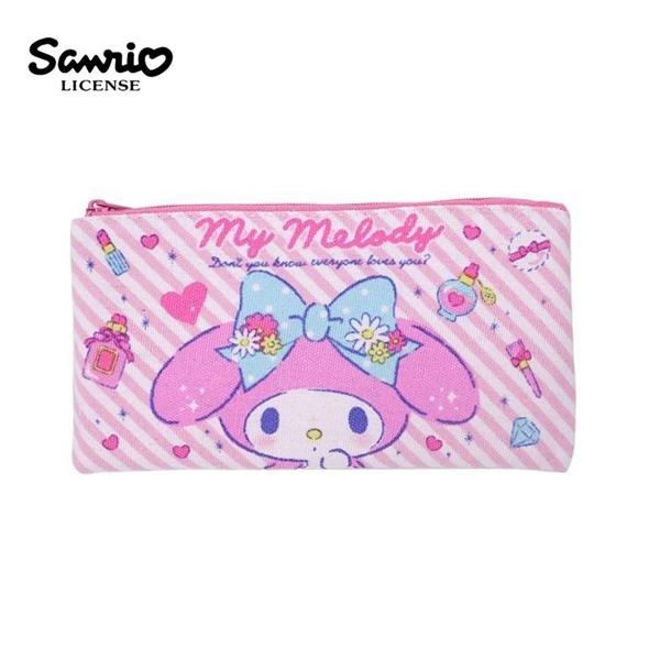 【日本正版】美樂蒂 帆布 扁筆袋 M號 鉛筆盒 筆袋 收納包 My Melody 三麗鷗 Sanrio - 465780