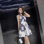 現貨S-XL洋裝民族風簡約潮流時尚掛脖修身性感連身裙倉庫清倉18466
