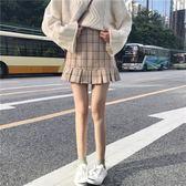 2018春裝韓版學院風甜美顯瘦荷葉邊格子半身裙學生包臀裙百搭短裙 挪威森林