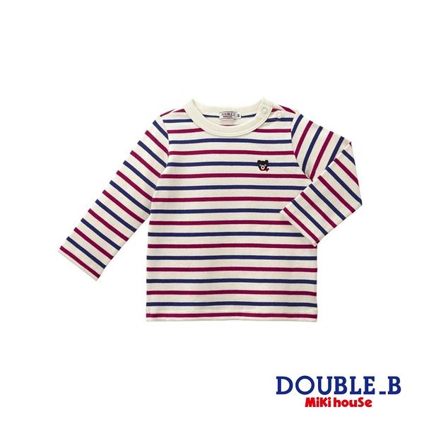 DOUBLE_B Everyday經典條紋百搭長袖T恤(酒紅)