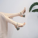 粗跟高跟鞋 涼鞋女2021年夏季新款一字扣帶中跟粗跟仙女風天天大東真皮高跟鞋 小衣里