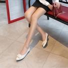 潮女涼鞋 皮單鞋女春秋2021新款平底鞋淺口尖頭軟皮百搭黑色皮鞋工作女鞋【快速出貨八折搶購】