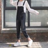 裝女裝新款韓版BF風減齡吊帶褲直筒褲寬鬆顯瘦牛仔褲九分褲學生    初語生活