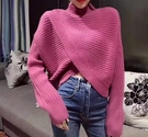 毛衣女套頭秋冬新款韓版寬鬆不規則高領純色針織衫蝙蝠袖上衣 koko時裝店