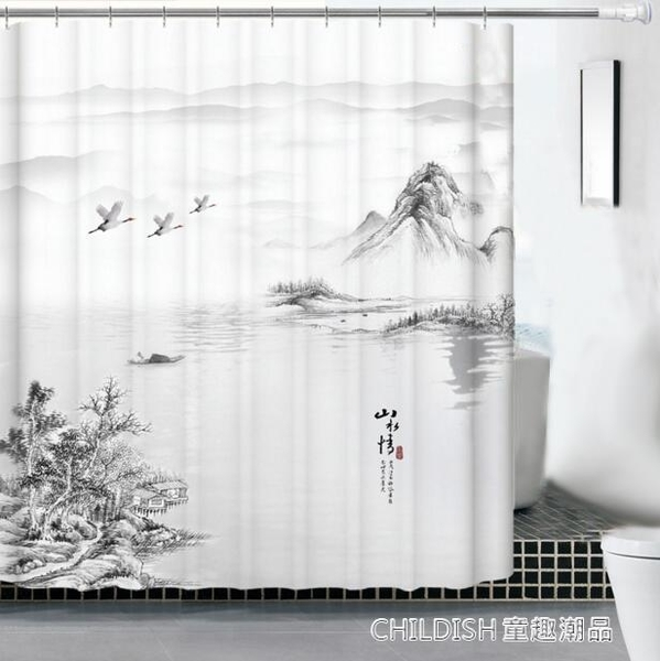 浴室簾 浴簾套裝免打孔簡約隔斷簾窗簾浴室防水加厚防黴衛生間洗澡簾 童趣潮品