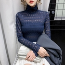 蕾丝打底衫 2020早秋新款流行半高領長袖T恤女裝歐貨內搭蕾絲打底衫修身上衣 Cocoa