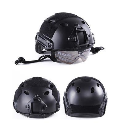 特種兵風鏡頭盔FAST風鏡版戰術頭盔 騎行頭盔 防護頭盔 CS頭盔