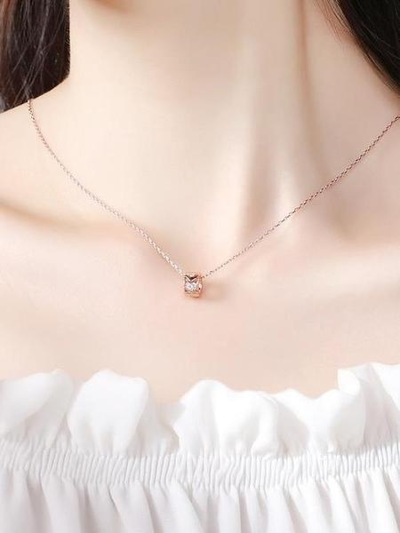 項鏈女純銀鎖骨鏈簡約氣質潮網紅吊墜女生飾品生日禮物小眾輕奢