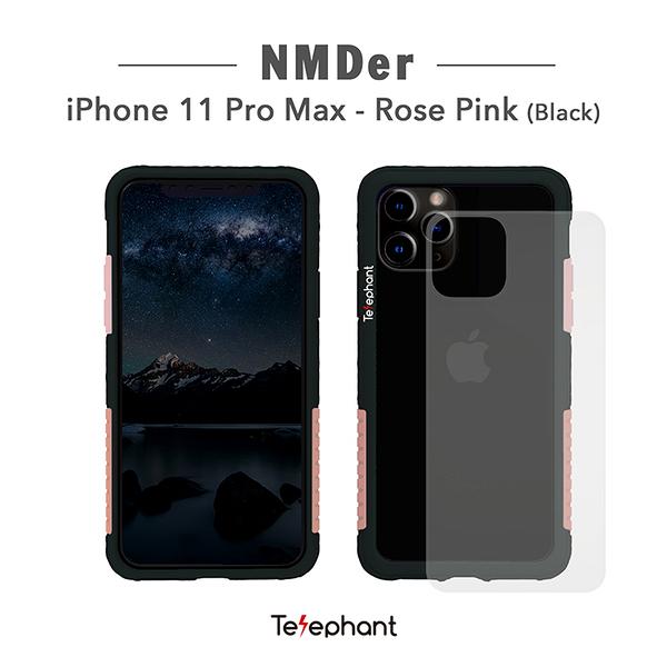 太樂芬Telephant iPhone 11 Pro Max/6.5吋 NMDER抗汙防摔手機殼 簡約款邊框含透明背板 金屬支架保護殼
