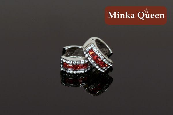 德國鈦鋼 紅色三排滿鑽造型 精緻水鑽、鋯石抗敏易扣耳環(一對)(14 mm)