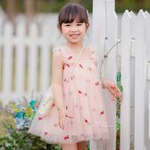 鳳梨刺繡飄逸紗裙吊帶洋裝 童裝 連身裙