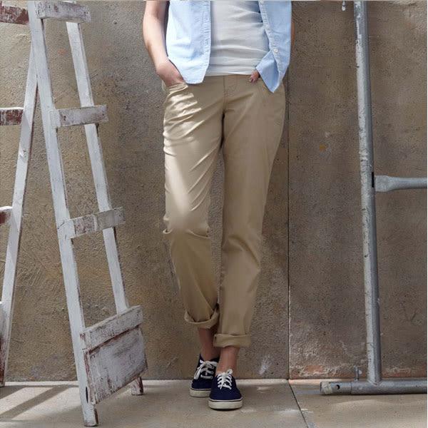 【JEEP】女裝 經典休閒褲-卡其