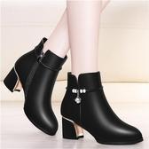 裸靴粗跟韓版媽媽鞋百搭短靴女鞋子女式皮鞋秋冬新款裸靴618購