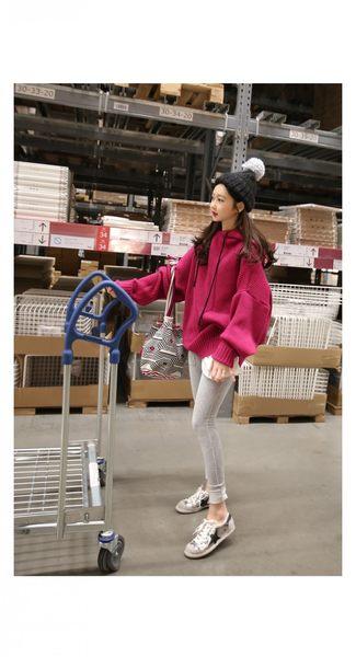 【PU32】長版上衣 原宿風長袖毛衣外套 韓版寬鬆連帽針織衫 上衣 均碼~玫紅