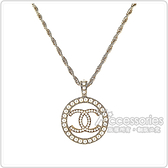 CHANEL 雙C LOGO圓形設計珍珠鑲飾項鍊(金)