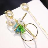 新款耳環韓國耳夾無耳洞女氣質流蘇耳墜長款水晶吊墜耳釘