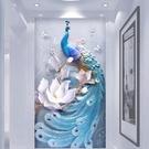 ▶3D墻紙壁畫走道浮雕玄關現代簡約浮雕立體孔雀玄關背景墻裝飾畫
