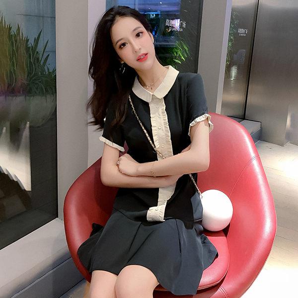 VK旗艦店 韓國學院風拼接木耳邊娃娃領學生短袖洋裝