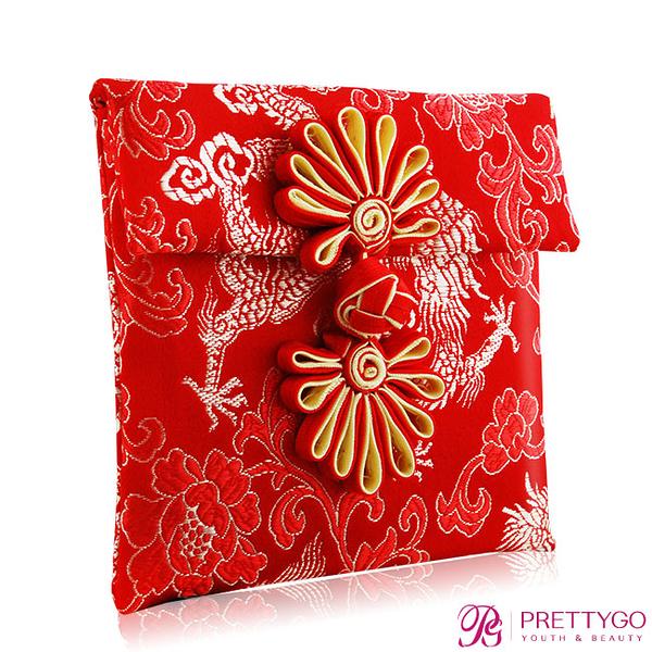 O'Pretty 歐沛媞 緞面刺繡紅包袋-祥龍紋(10cmX10xm)【美麗購】