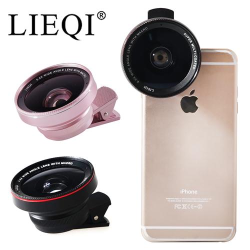 ○LIEQI 新型大廣角設計 0.6X廣角+微距 二合一鏡頭○LQ-025 通用型手機平板鏡頭夾 附單反鏡頭防塵蓋