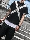 FINDSENSE品牌 時尚潮流 型男 酷 寬鬆 X拼條  短袖T恤 特色短T