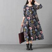 長袖洋裝連身裙女民族風女裝寬鬆大碼花色文藝百搭棉麻中長裙