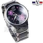 valentino coupeau 范倫鐵諾 古柏 醉心 櫻花紛飛 陶瓷錶 女錶 中性錶 夜光指針 黑色 V60208-2