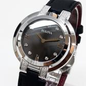 [萬年鐘錶]  BULOVA寶路華 晶鑽點綴女錶 黑螺紋錶面 銀殼 黑壓紋皮帶 女錶 96R217