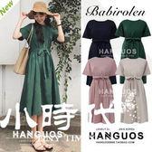 棉麻洋裝-復古系帶收腰棉麻連身裙女短袖chic中長款大擺裙