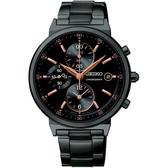 【台南 時代鐘錶 SEIKO】精工 SNDW47P1 極速剽悍 三眼計時腕錶 Criteria 黑鋼 37mm 公司貨 開發票