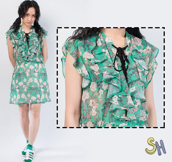 洋裝 印花 雪紡 古典印花雪紡綁帶洋裝/綠色//義大利進口 現貨/SH