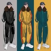 日式休閒運動服寬鬆時尚套裝女純棉兩件套【小酒窩服飾】