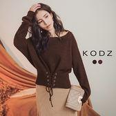 東京著衣【KODZ】時髦前端腰際交叉綁帶兩穿針織上衣(182533)